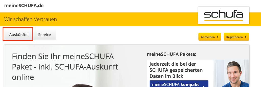 Schufa Auskunft Button