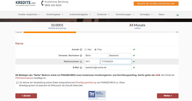 Screenshot DKB Kreditantrag