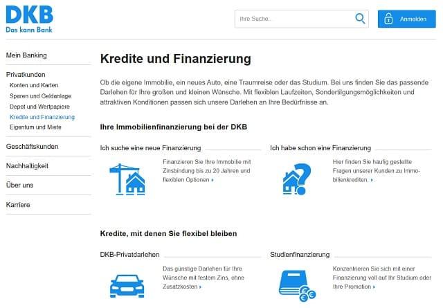 Übersicht über die Kredite der DKB für Privatpersonen