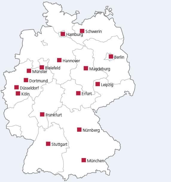 DSL Bank Standorte auf Deutschlandkarte