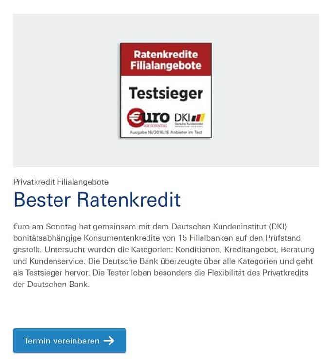 Deutsche Bank Auszeichnung und Siegel für besten Ratenkredit