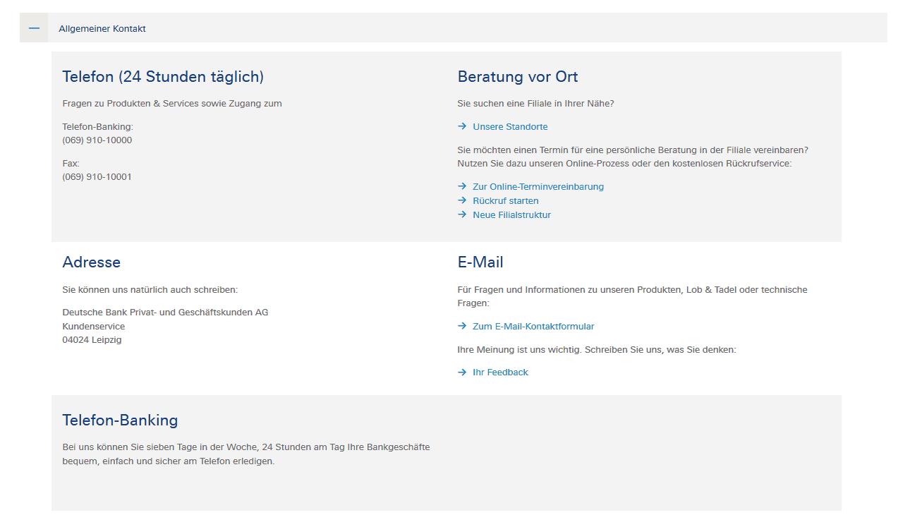 Deutsche Bank Kontaktmöglichkeiten