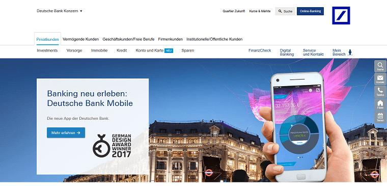 Deutsche Bank Website Screenshot