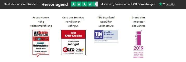 Lendico hat positive Auszeichnungen von diversen Zeitschriften und Testern bekommen. - Lendico Kredit Erfahrungen