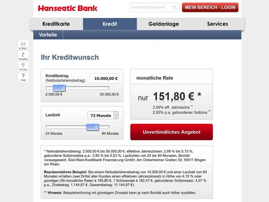 Hanseatic Bank Kreditrechner