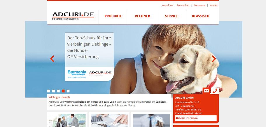 Adcuri Versicherung Website