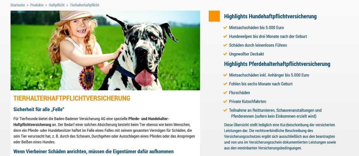Baden-Badener Hundehaftpflicht-Versicherung Tarifbestandteile