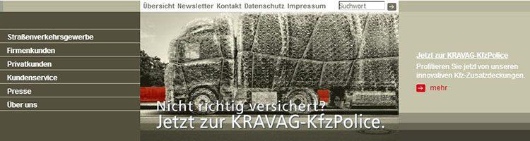 Die Startseite der Kravag KFZ Versicherung