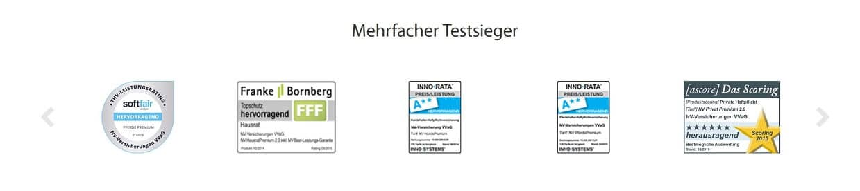 NV Hundehaftpflicht Siegel und Zertifikate