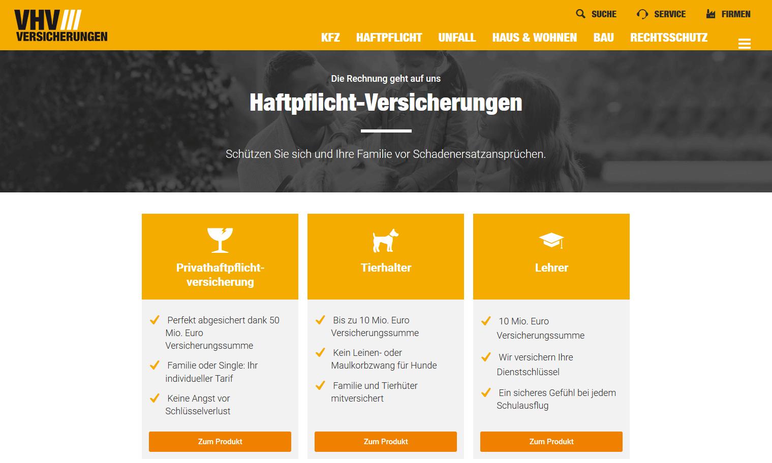 VHV Hundehaftpflicht Website