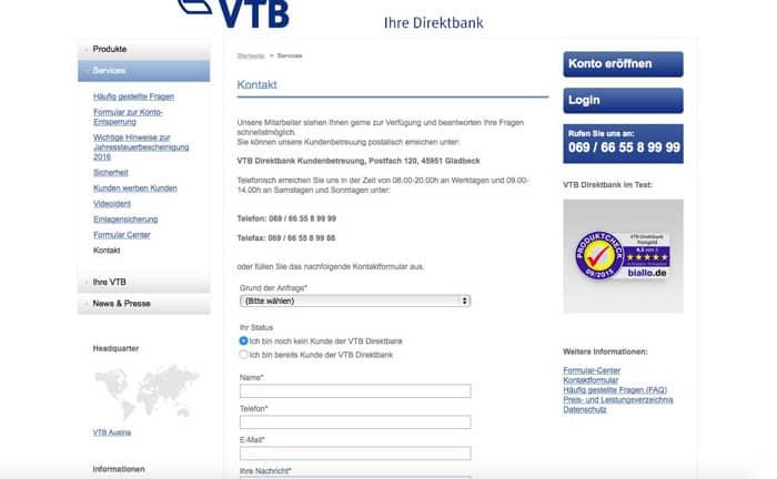 VTB Direktbank Support