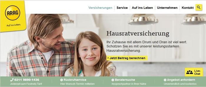 ARAG Hausratversicherung startseite