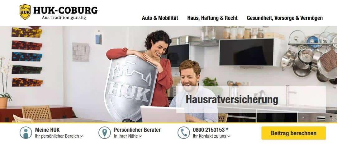 Einfach aufgebaut ist die Website der HUK und speziell auf der Seite zur Hausratversicherung sind alle wichtigen Infos und Leistungs-Highlights aufgeführt