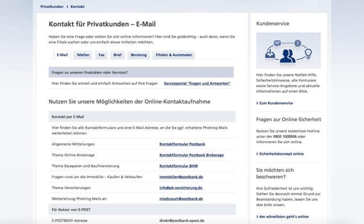 Postbank Kontakt