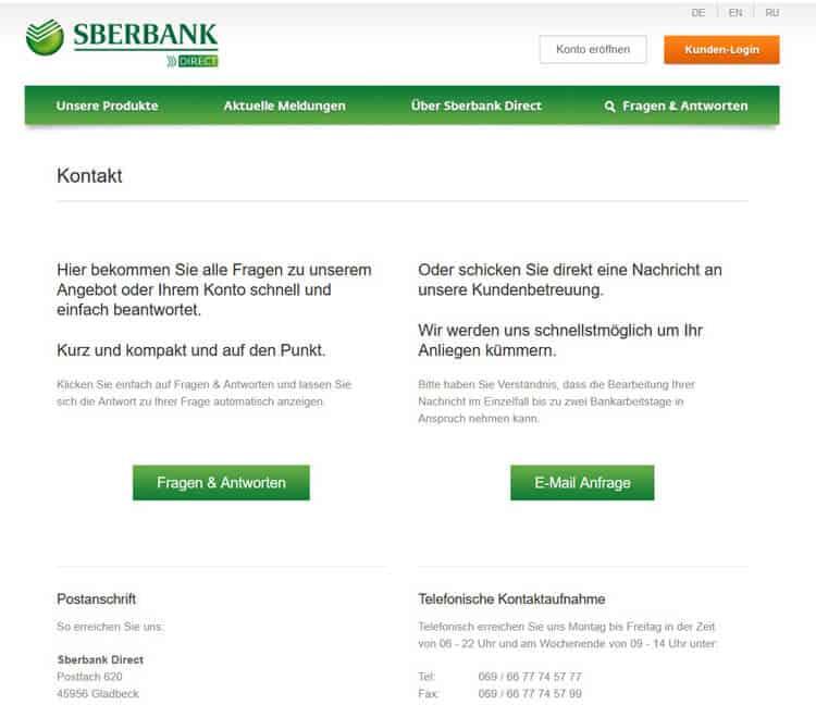 Sberbank Direct Erreichbarkeit Kundenservice