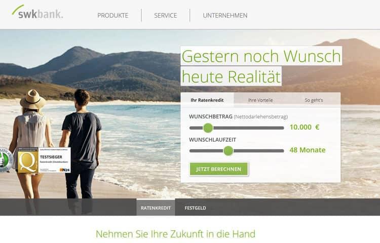 Übersicht Nutzerfreundlichkeit SWK Bank Festgeld
