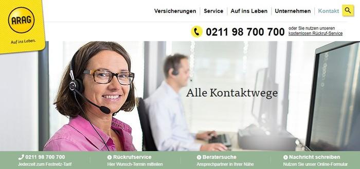 ARAG Auslandsreisekrankenversicherung kontakt