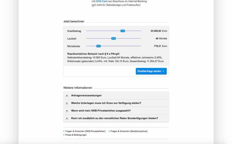 DKB Kreditrechner