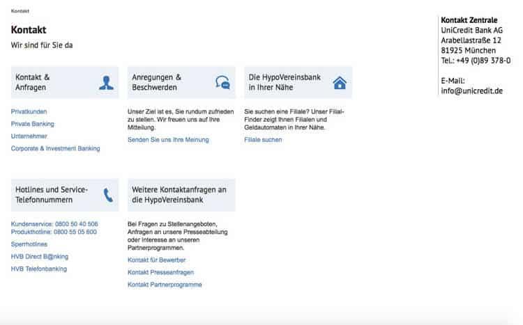 HypoVereinsbank Kontakt
