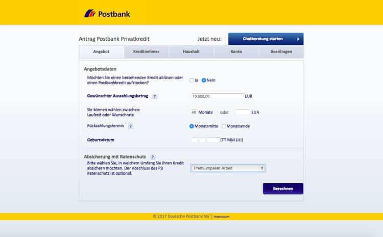 Postbank Kredit Antrag