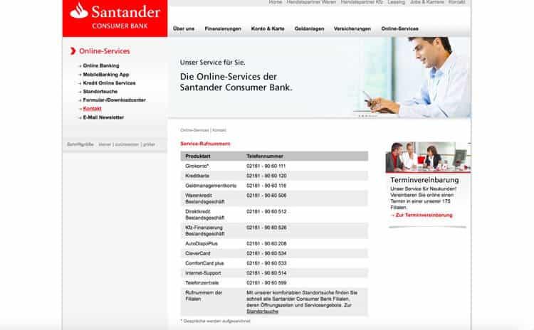 Santander Kundenkontakt