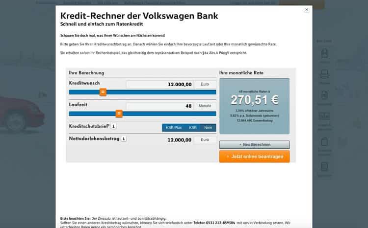 VW Bank Kreditrechner
