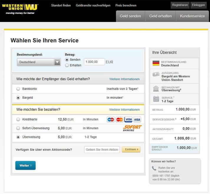 Western Union überweisung Stornieren