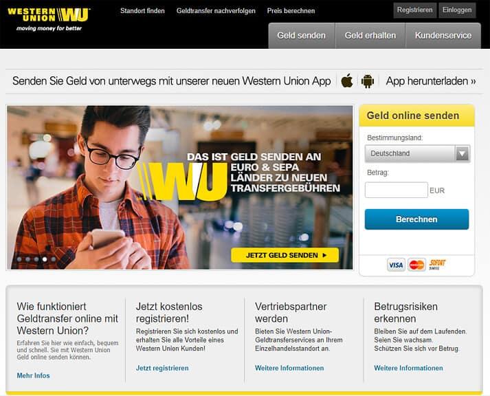 Geldtransfer western gebühren union Western Union
