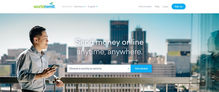"""""""Send money online - anytime, anywhere"""" - der Slogan auf der World-Remit-Homepage (Quelle: World Remit)"""