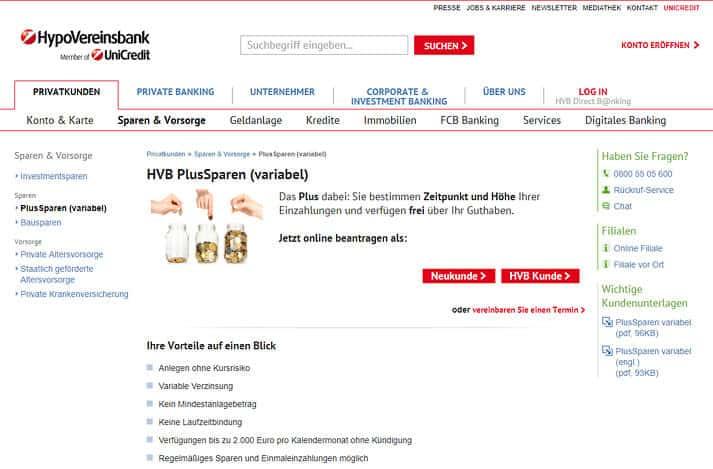 HypoVereinsbank HVB PlusSparen
