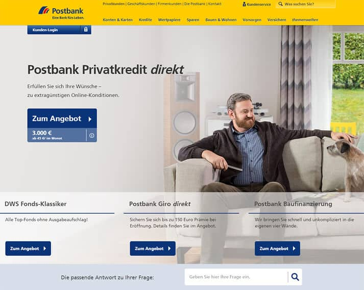 Postbank Tagesgeld Website
