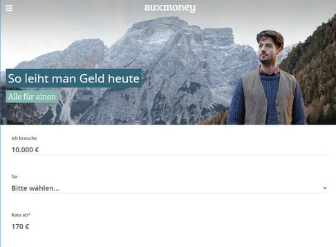 Auxmoney Startseite