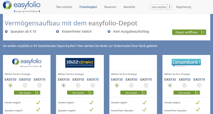 easyfolio Depot eröffnen
