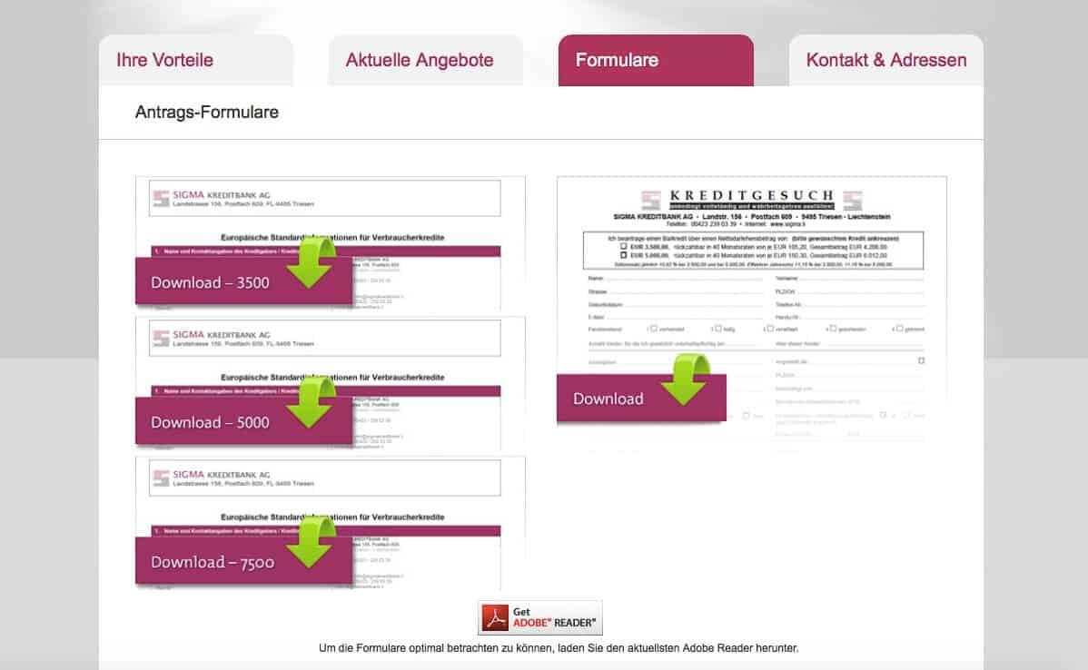 Sigma Kreditbank Formulare