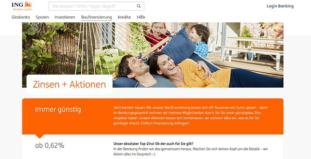 Internetseite der ING zur Baufinanzierung
