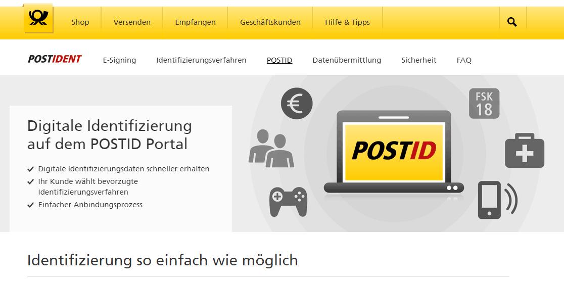 diditale Identifizierung auf dem POSTID Portal