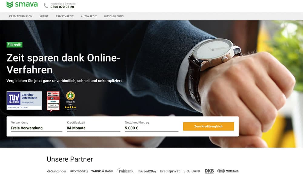 smava Homepage - smava Kredit Erfahrungen