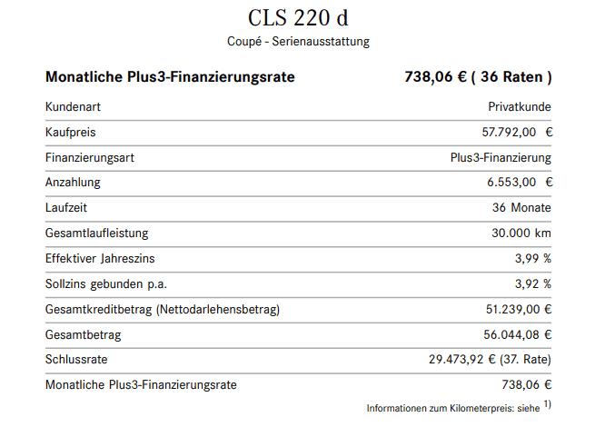Musterberechnung Mercedes CLS220d 3-Wege-Finanzierung