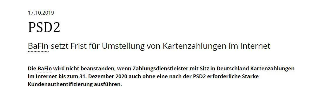 """BaFin setzt Frist zu PSD"""" bzgl. Umstellung von Kartenzahlungen im Internet"""