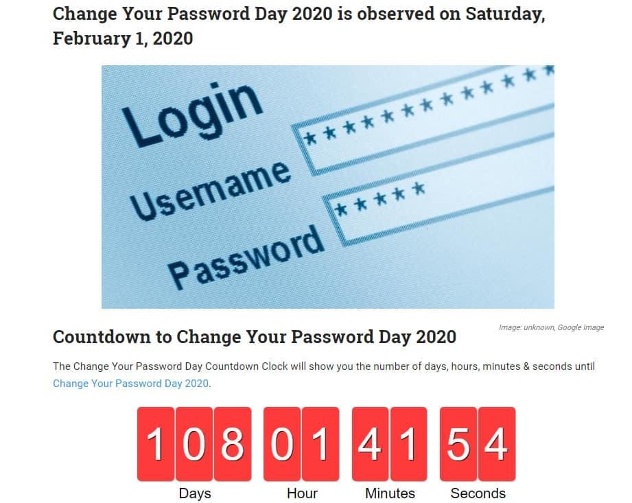 """Jedes Jahr ist am 1.2. """"change your password day"""""""