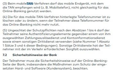 Die AGB geben klare Sicherheitshinweise für die Teilnahme am Online-Banking