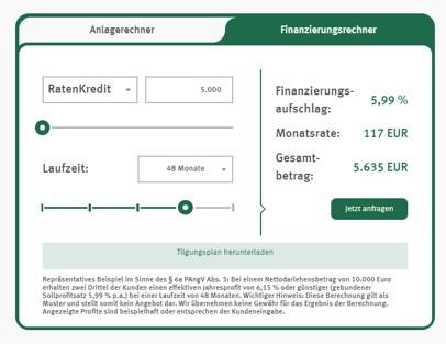 Anlagen und Finanzierungen können in einem Onlinerechner ermittelt werden - KT Bank Erfahrungen