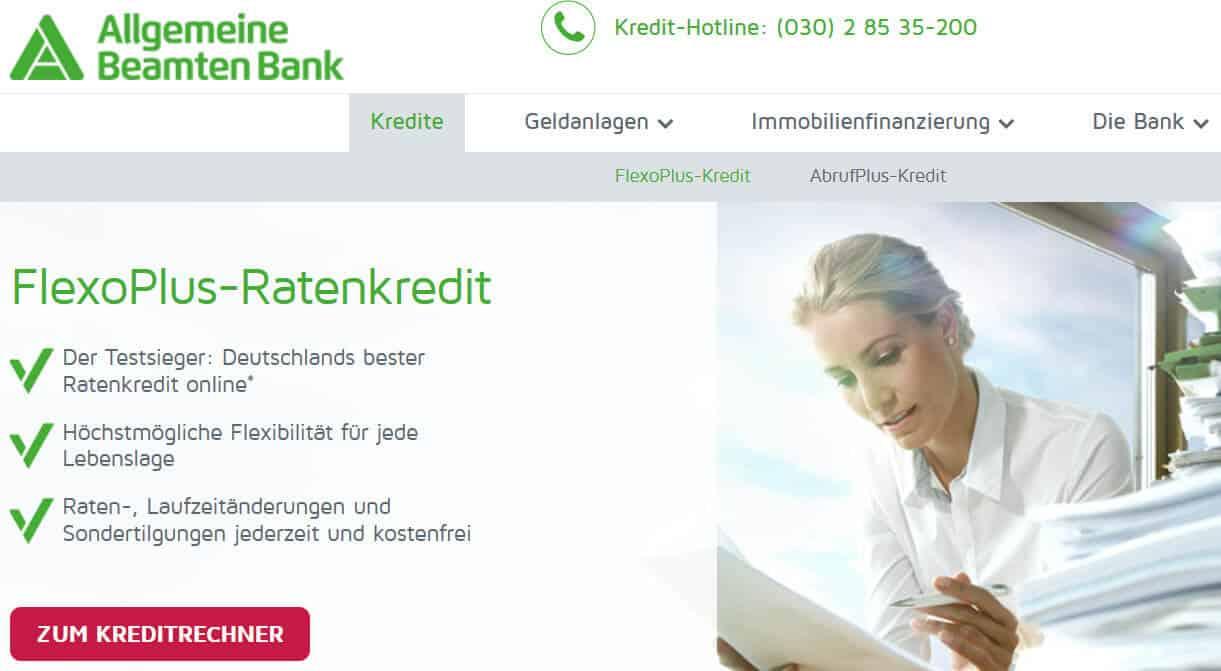 ABK Bank Beamtenkredit Tilgungsoptionen