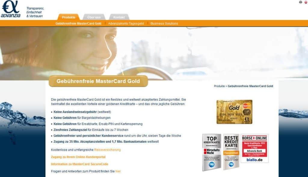 Advanzia Bank MasterCard Gold Kreditkarte Erfahrungen