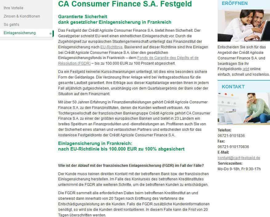 CA Consumer Finance Festgeld Einlagensicherung