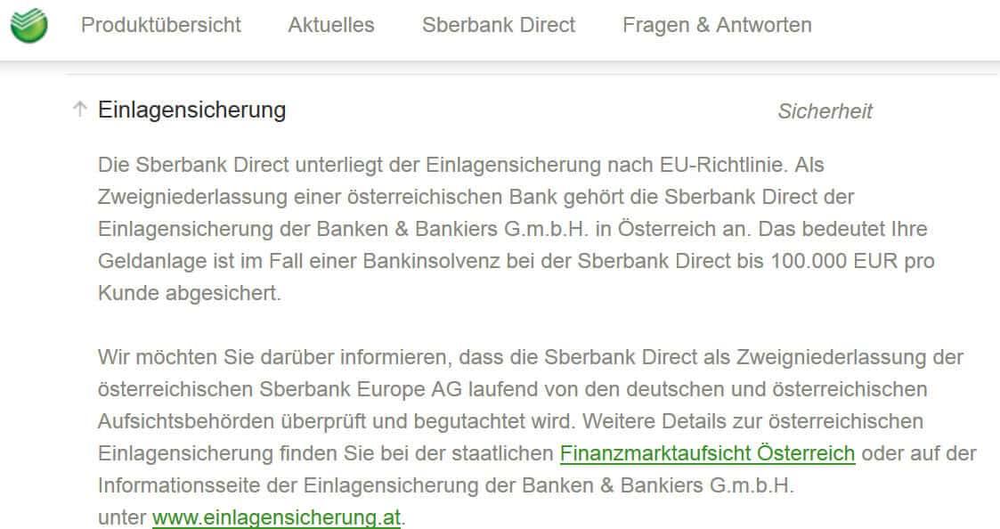 Sberbank Einlagensicherung