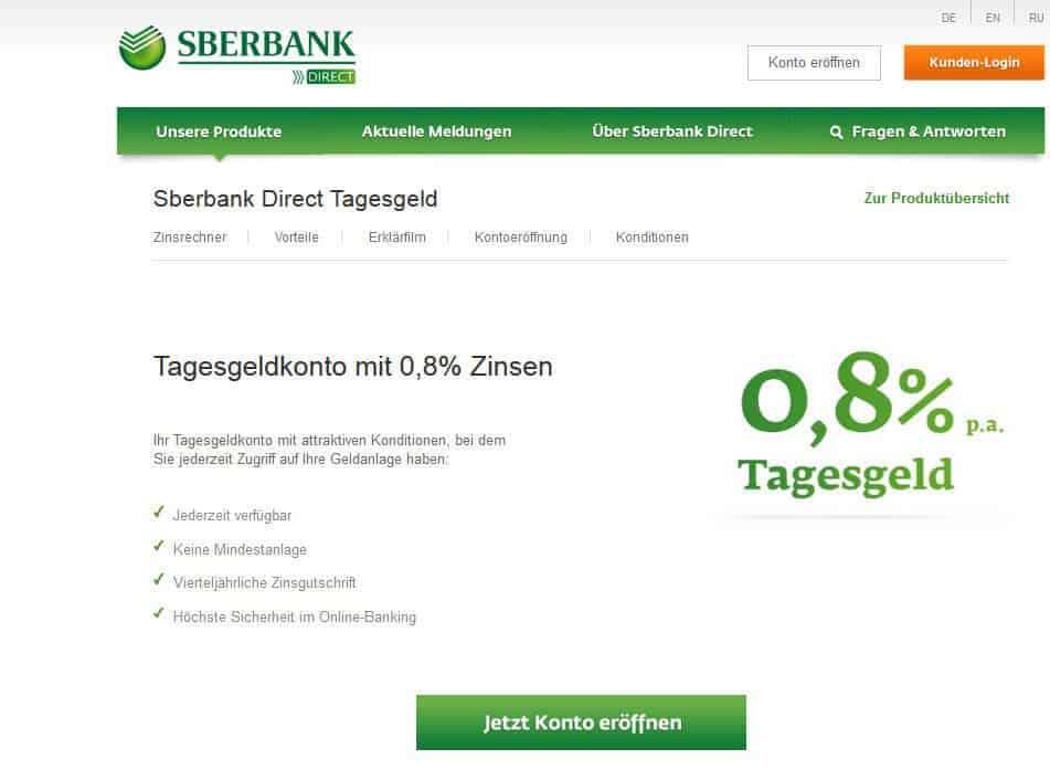 Sberbank Festgeld Tagesgeld Bonus