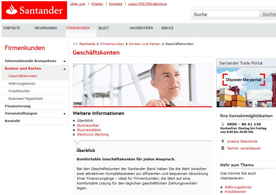 Geschäftskonto bei der Santander Bank